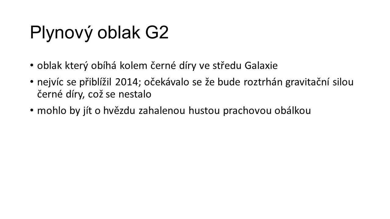 Plynový oblak G2 oblak který obíhá kolem černé díry ve středu Galaxie nejvíc se přiblížil 2014; očekávalo se že bude roztrhán gravitační silou černé d