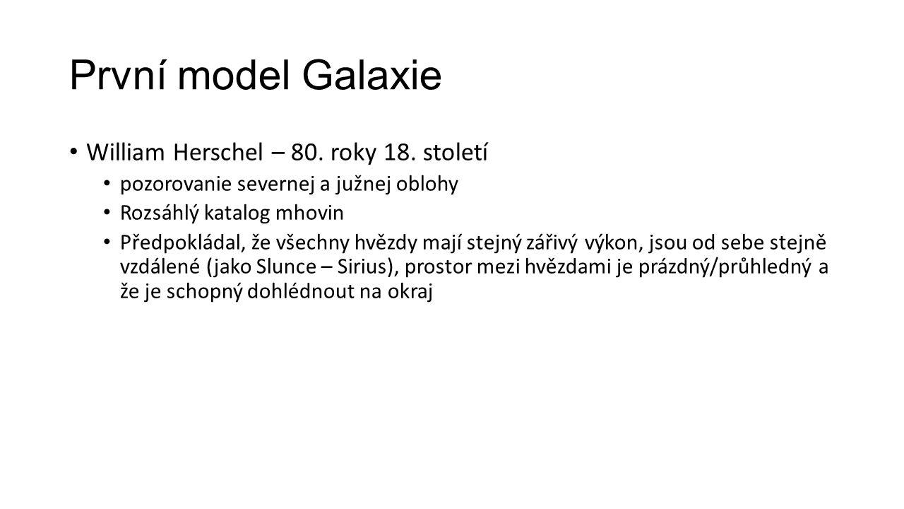 První model Galaxie William Herschel – 80. roky 18. století pozorovanie severnej a južnej oblohy Rozsáhlý katalog mhovin Předpokládal, že všechny hvěz