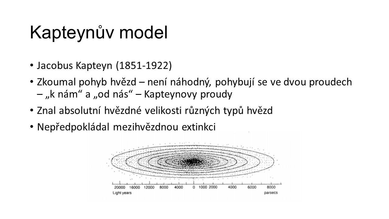 """Kapteynův model Jacobus Kapteyn (1851-1922) Zkoumal pohyb hvězd – není náhodný, pohybují se ve dvou proudech – """"k nám a """"od nás – Kapteynovy proudy Znal absolutní hvězdné velikosti různých typů hvězd Nepředpokládal mezihvězdnou extinkci"""