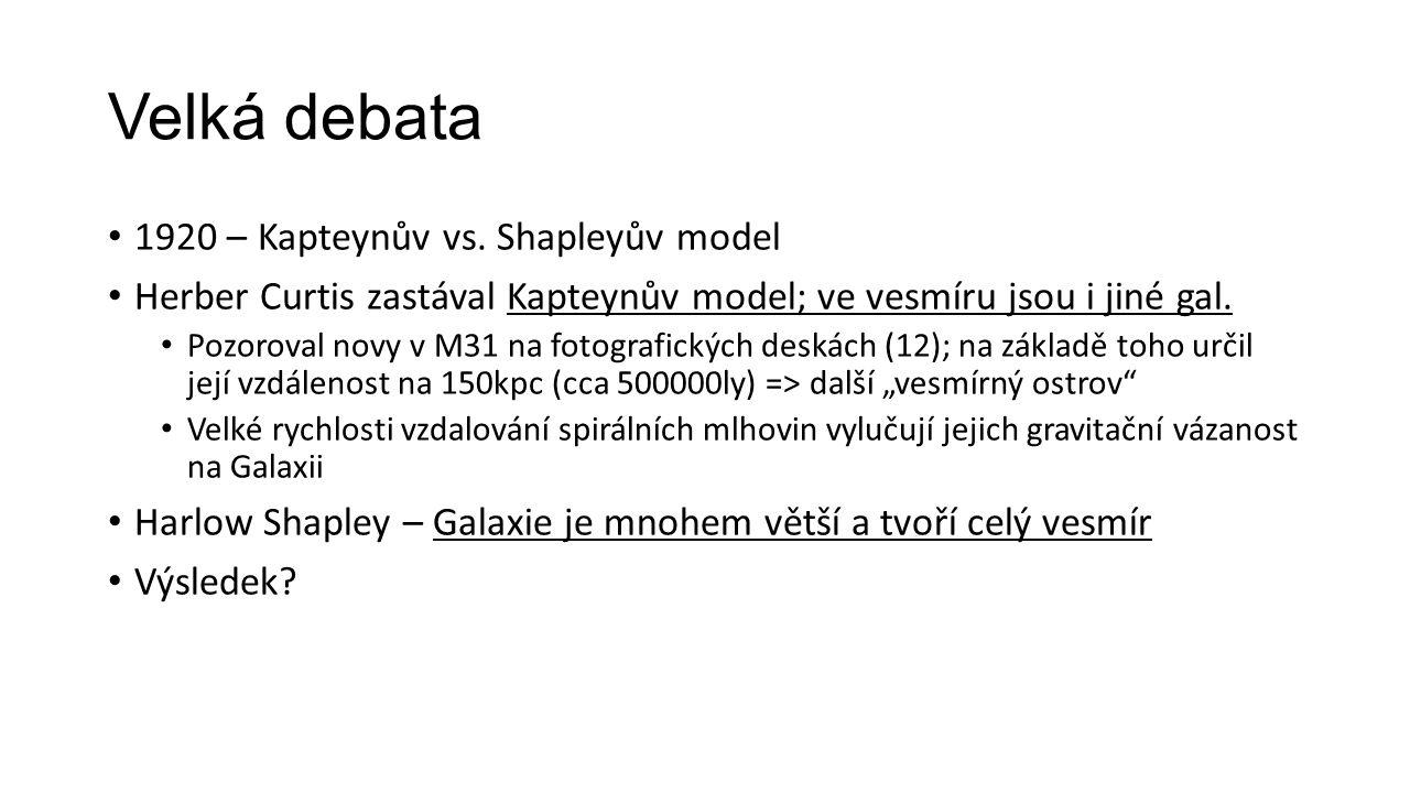 Velká debata 1920 – Kapteynův vs. Shapleyův model Herber Curtis zastával Kapteynův model; ve vesmíru jsou i jiné gal. Pozoroval novy v M31 na fotograf