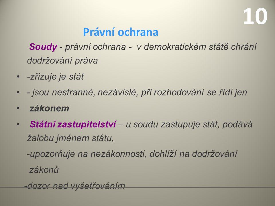 Soustava soudů v ČR Je čtyřstupňová.Tvoří ji: 1. Okresní soudy (v bývalých okresních městech) 2.