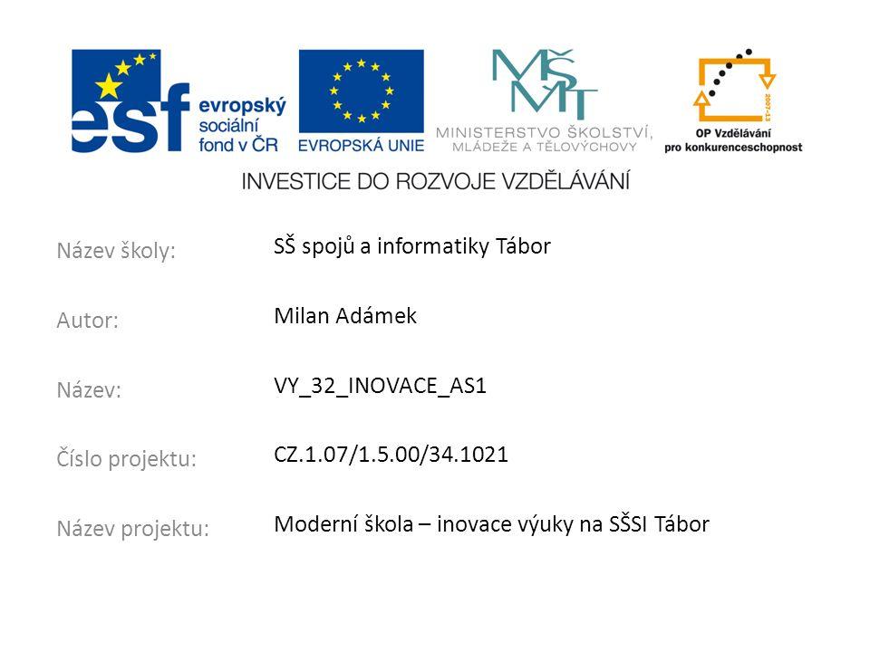 Název školy: Autor: Název: Číslo projektu: Název projektu: SŠ spojů a informatiky Tábor Milan Adámek VY_32_INOVACE_AS1 CZ.1.07/1.5.00/34.1021 Moderní