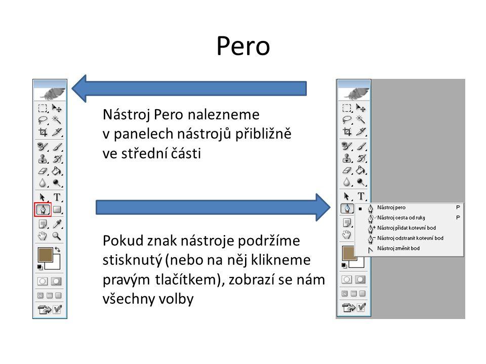 Pero Nástroj Pero nalezneme v panelech nástrojů přibližně ve střední části Pokud znak nástroje podržíme stisknutý (nebo na něj klikneme pravým tlačítkem), zobrazí se nám všechny volby