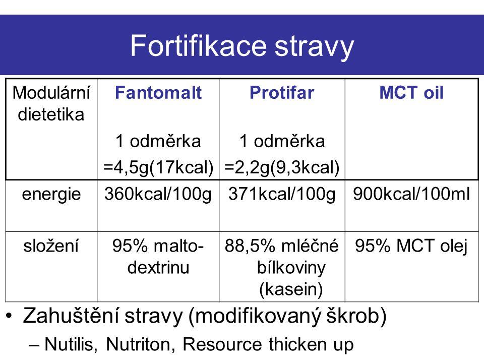 Fortifikace stravy Modulární dietetika FantomaltProtifarMCT oil 1 odměrka =4,5g(17kcal) 1 odměrka =2,2g(9,3kcal) energie360kcal/100g371kcal/100g900kcal/100ml složení95% malto- dextrinu 88,5% mléčné bílkoviny (kasein) 95% MCT olej Zahuštění stravy (modifikovaný škrob) –Nutilis, Nutriton, Resource thicken up
