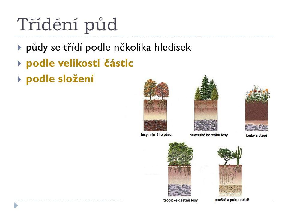 Třídění půd  půdy se třídí podle několika hledisek  podle velikosti částic  podle složení