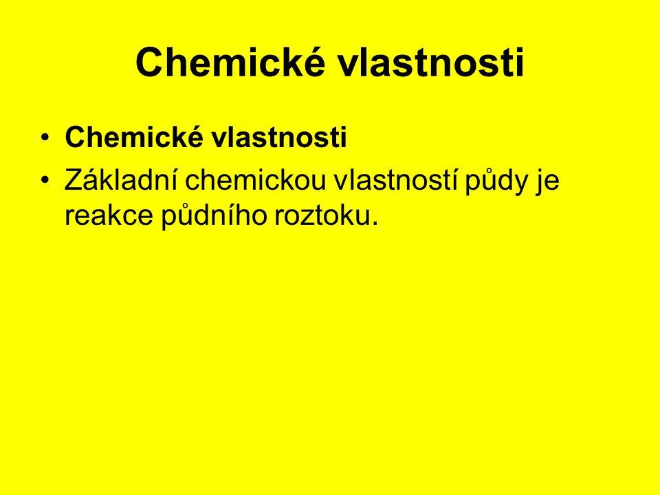 Chemické vlastnosti Základní chemickou vlastností půdy je reakce půdního roztoku.