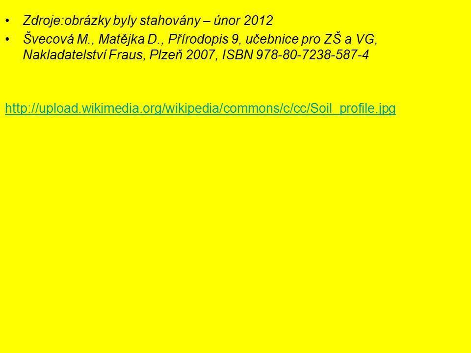 Zdroje:obrázky byly stahovány – únor 2012 Švecová M., Matějka D., Přírodopis 9, učebnice pro ZŠ a VG, Nakladatelství Fraus, Plzeň 2007, ISBN 978-80-7238-587-4 http://upload.wikimedia.org/wikipedia/commons/c/cc/Soil_profile.jpg