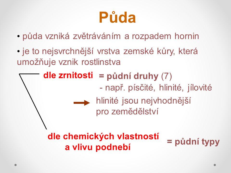 Půdní typy v ČR černozem = má vysoký obsah HUMUSU nejúrodnější část půdy - nachází se v nížinách, kde je teplejší podnebí hnědozem = stále velmi úrodná - nachází se i na pahorkatinách hnědé půdy - nacházejí se na pahorkatinách, vrchovinách = zemědělsky vhodné, jsou nejrozšířenější HUMUS =