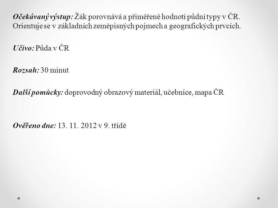 Očekávaný výstup: Žák porovnává a přiměřeně hodnotí půdní typy v ČR.