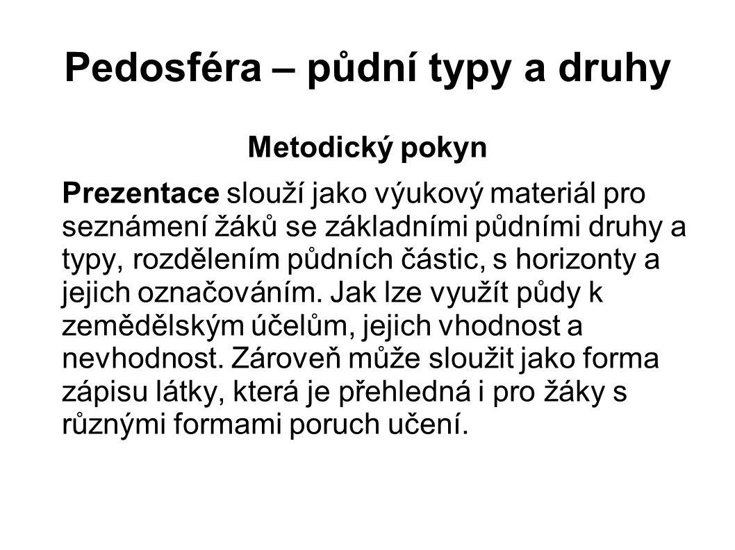 Pedosféra – půdní typy a druhy Metodický pokyn Prezentace slouží jako výukový materiál pro seznámení žáků se základními půdními druhy a typy, rozdělen