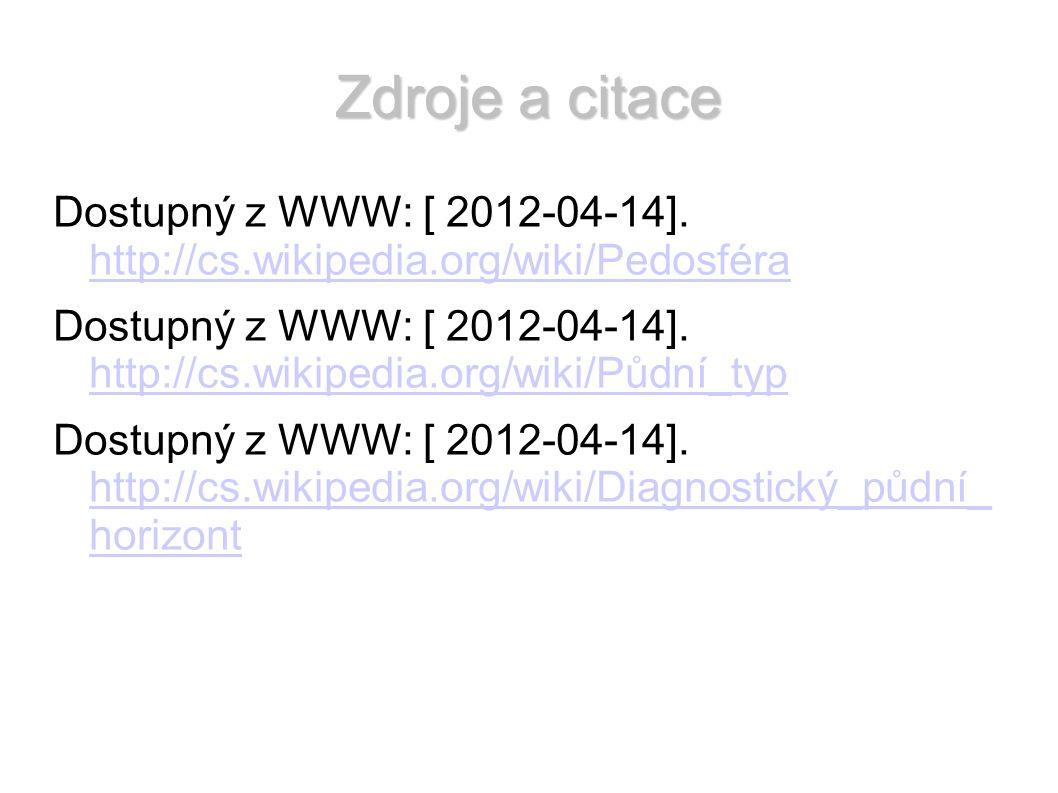 Zdroje a citace Dostupný z WWW: [ 2012-04-14]. http://cs.wikipedia.org/wiki/Pedosféra http://cs.wikipedia.org/wiki/Pedosféra Dostupný z WWW: [ 2012-04