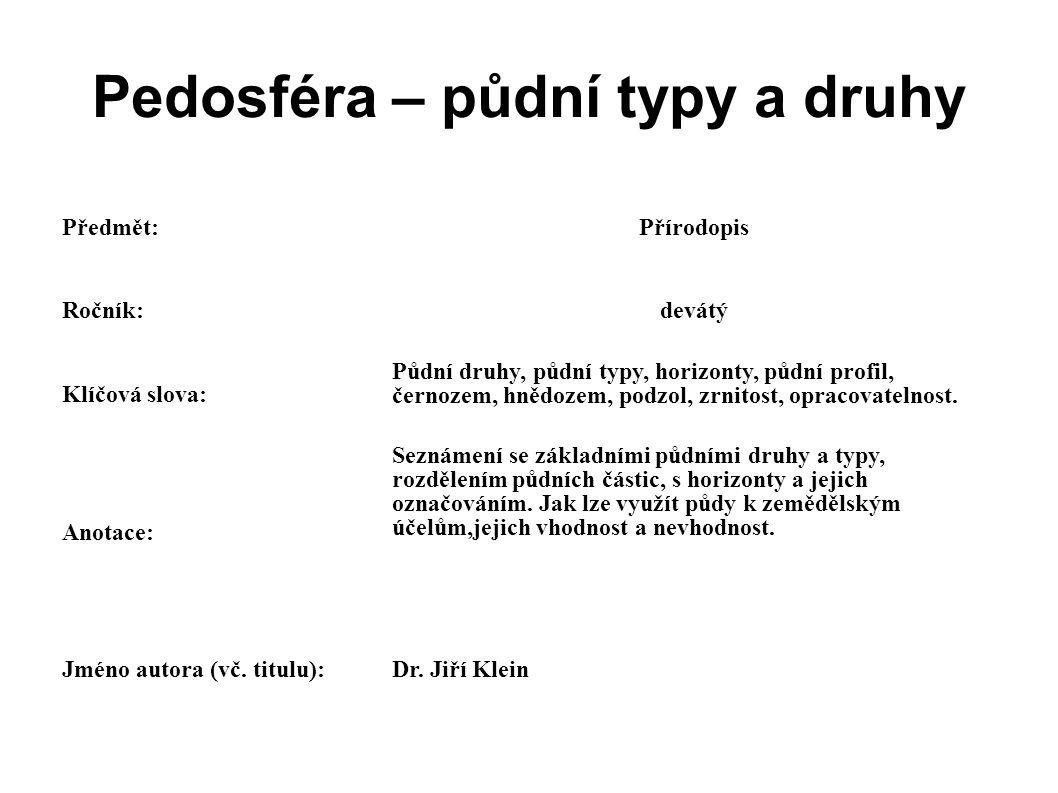 Pedosféra – půdní typy a druhy Předmět:Přírodopis Ročník:devátý Klíčová slova: Půdní druhy, půdní typy, horizonty, půdní profil, černozem, hnědozem, p