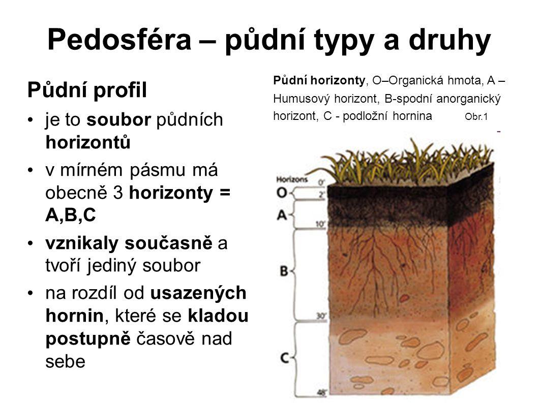 Pedosféra – půdní typy a druhy Půdní profil je to soubor půdních horizontů v mírném pásmu má obecně 3 horizonty = A,B,C vznikaly současně a tvoří jedi