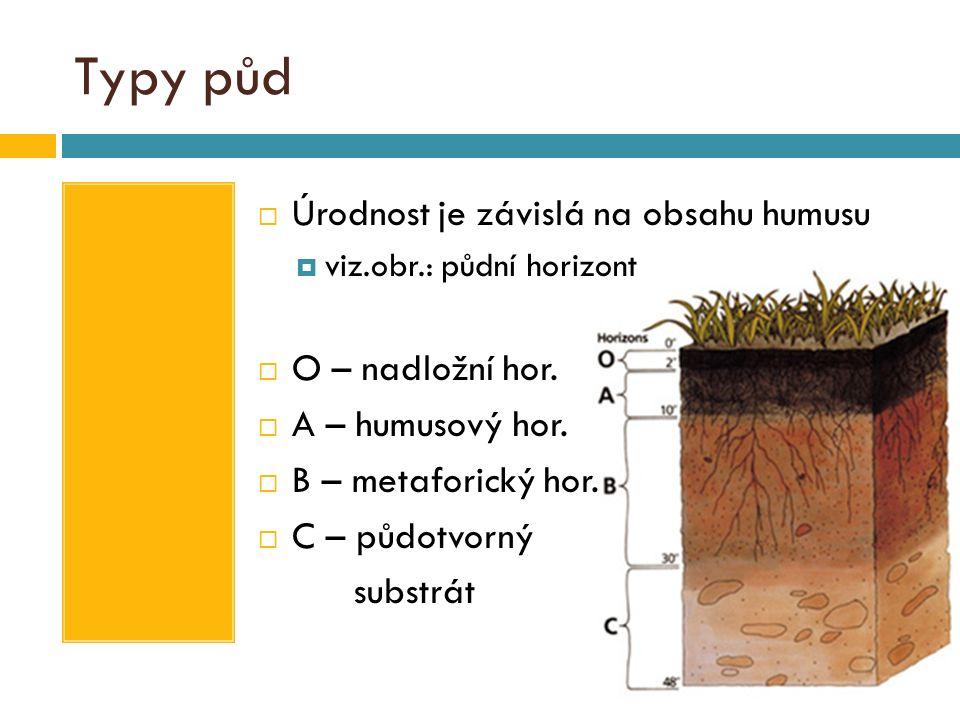 Typy půd  Úrodnost je závislá na obsahu humusu  viz.obr.: půdní horizont  O – nadložní hor.  A – humusový hor.  B – metaforický hor.  C – půdotv