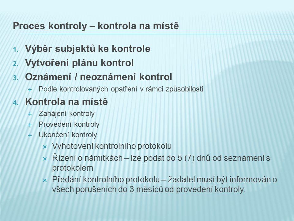 Proces kontroly – kontrola na místě 1. Výběr subjektů ke kontrole 2.
