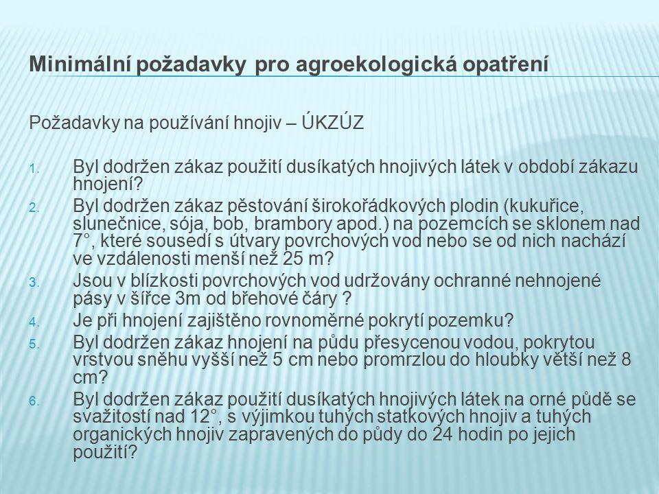 Minimální požadavky pro agroekologická opatření Požadavky na používání hnojiv – ÚKZÚZ 1.