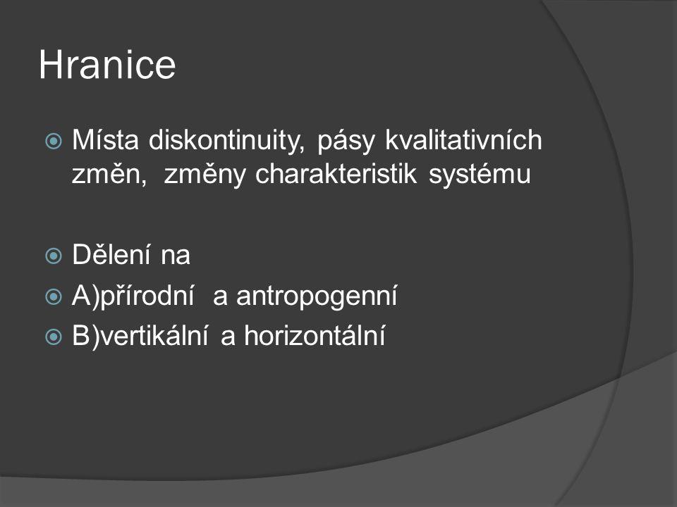 Hranice  Místa diskontinuity, pásy kvalitativních změn, změny charakteristik systému  Dělení na  A)přírodní a antropogenní  B)vertikální a horizon