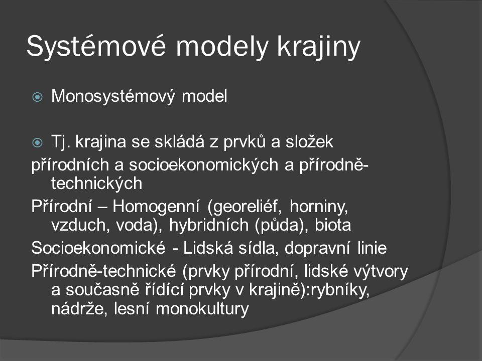 Systémové modely krajiny  Monosystémový model  Tj. krajina se skládá z prvků a složek přírodních a socioekonomických a přírodně- technických Přírodn