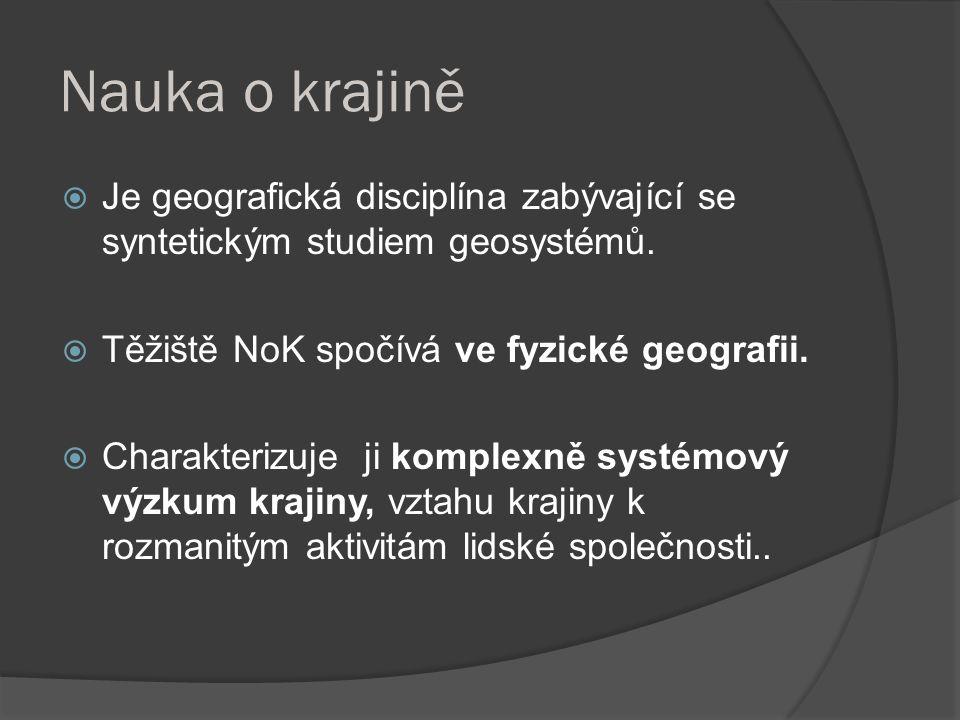 Nauka o krajině  Je geografická disciplína zabývající se syntetickým studiem geosystémů.  Těžiště NoK spočívá ve fyzické geografii.  Charakterizuje