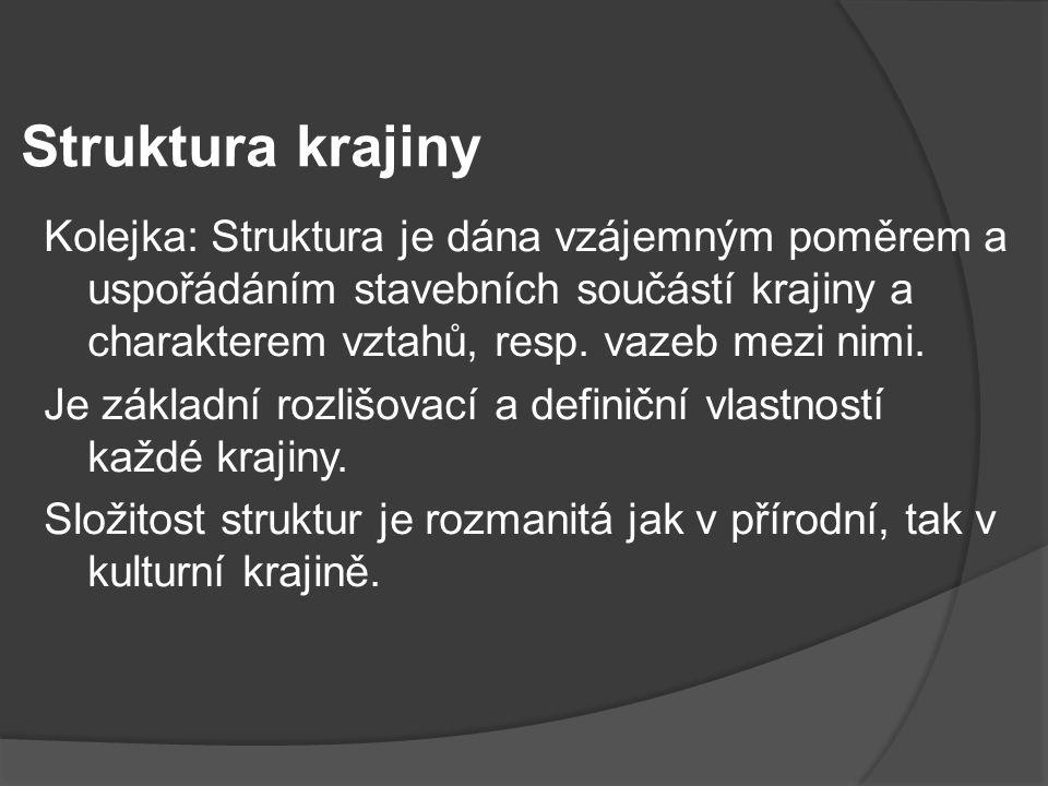 Struktura krajiny Kolejka: Struktura je dána vzájemným poměrem a uspořádáním stavebních součástí krajiny a charakterem vztahů, resp. vazeb mezi nimi.