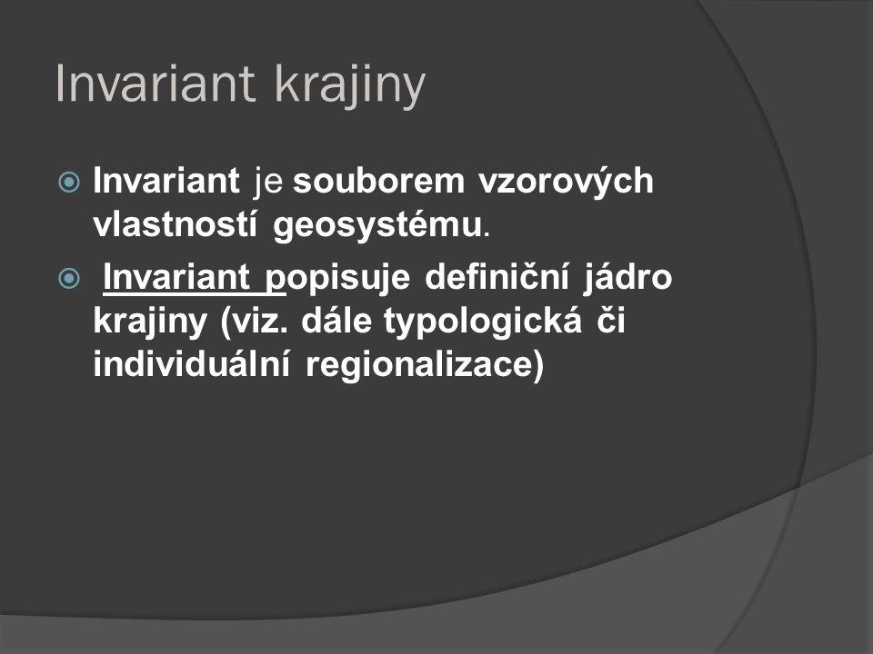 Invariant krajiny  Invariant je souborem vzorových vlastností geosystému.  Invariant popisuje definiční jádro krajiny (viz. dále typologická či indi