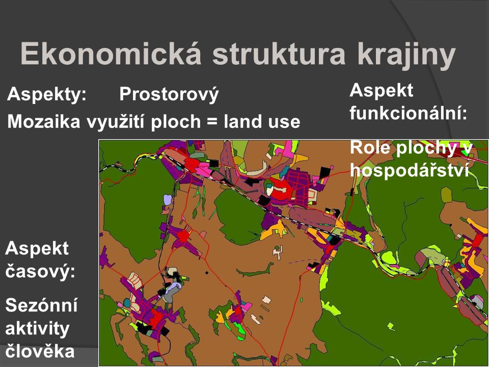 Ekonomická struktura krajiny Aspekty: Prostorový Mozaika využití ploch = land use Aspekt časový: Sezónní aktivity člověka Aspekt funkcionální: Role pl