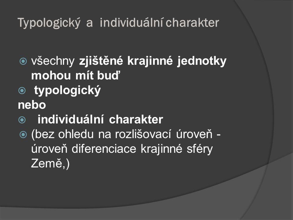 Typologický a individuální charakter  všechny zjištěné krajinné jednotky mohou mít buď  typologický nebo  individuální charakter  (bez ohledu na r