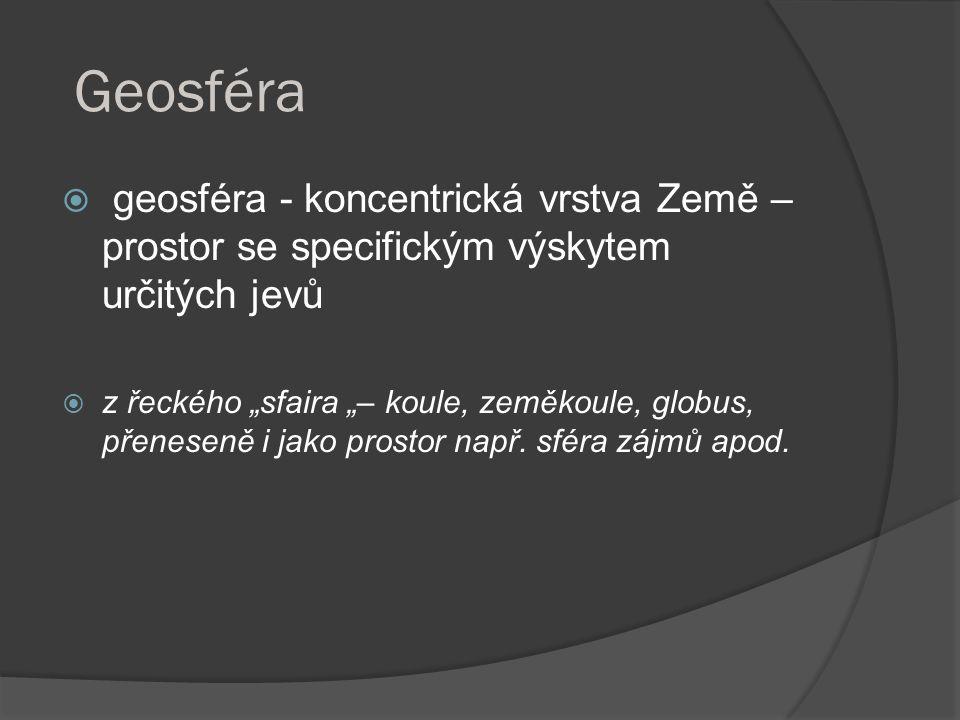 """Geosféra  geosféra - koncentrická vrstva Země – prostor se specifickým výskytem určitých jevů  z řeckého """"sfaira """"– koule, zeměkoule, globus, přenes"""