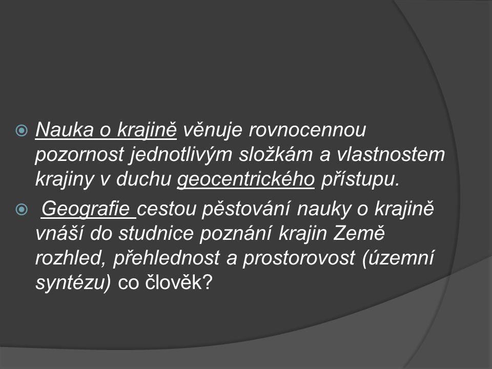 Přírodní struktura krajiny Prostorová struktura: vertikální struktura složek