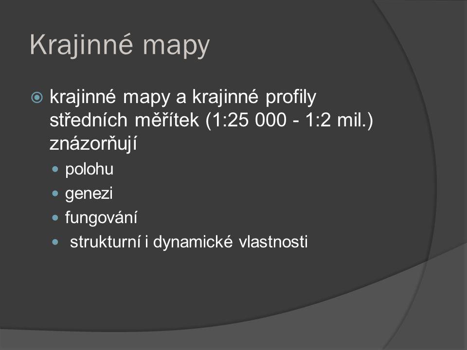 Krajinné mapy  krajinné mapy a krajinné profily středních měřítek (1:25 000 - 1:2 mil.) znázorňují polohu genezi fungování strukturní i dynamické vla