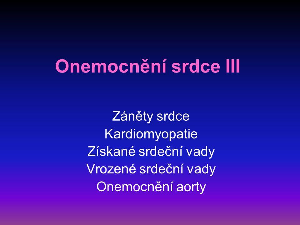 Záněty srdce akutní perikarditida  bez výpotku – pericarditis sicca  s výpotkem – pericarditis exsudativa (sangvinolentní, serózní, hemoragický, hnisavý) etiologie – idiopatická, virová, poinfarktová, při infekci, uremická, nádorová, postperkardiotomický syndrom, hydroperikard, hemoperikard
