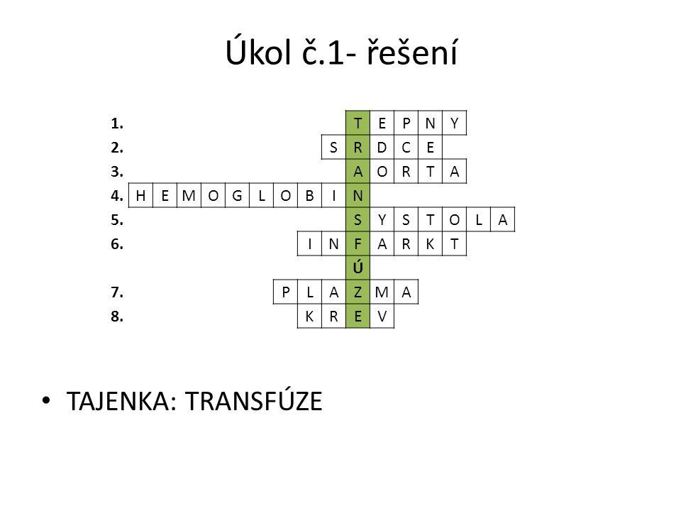 Úkol č.1- řešení TAJENKA: TRANSFÚZE 1.TEPNY 2.SRDCE 3.AORTA 4.HEMOGLOBIN 5.SYSTOLA 6.INFARKT Ú 7.PLAZMA 8.KREV