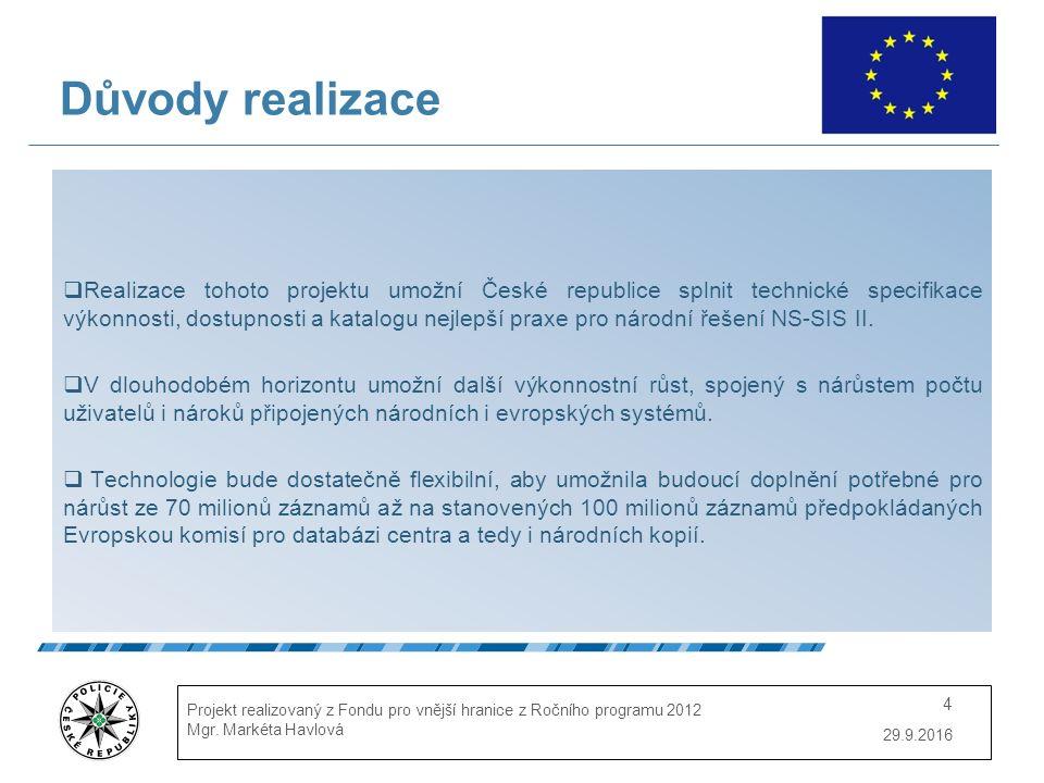 29.9.2016 Projekt realizovaný z Fondu pro vnější hranice z Ročního programu 2012 Mgr.
