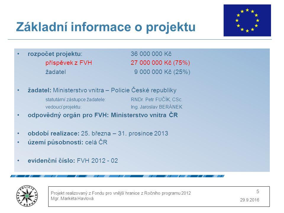 29.9.2016 Projekt realizovaný z Fondu pro vnější hranice z Ročního programu 2012 Mgr. Markéta Havlová 5 Základní informace o projektu rozpočet projekt