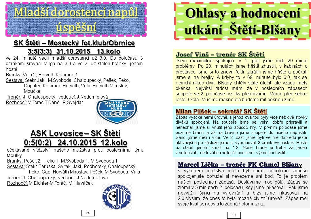 26 19 SK Štětí – Mostecký fot.klub/Obrnice 3:5(3:3) 31.10.2015 13.kolo ve 24.