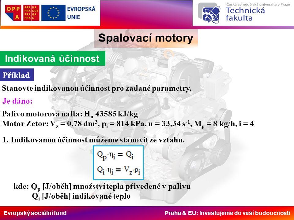 Evropský sociální fond Praha & EU: Investujeme do vaší budoucnosti Spalovací motory Indikovaná účinnost Příklad Stanovte indikovanou účinnost pro zada
