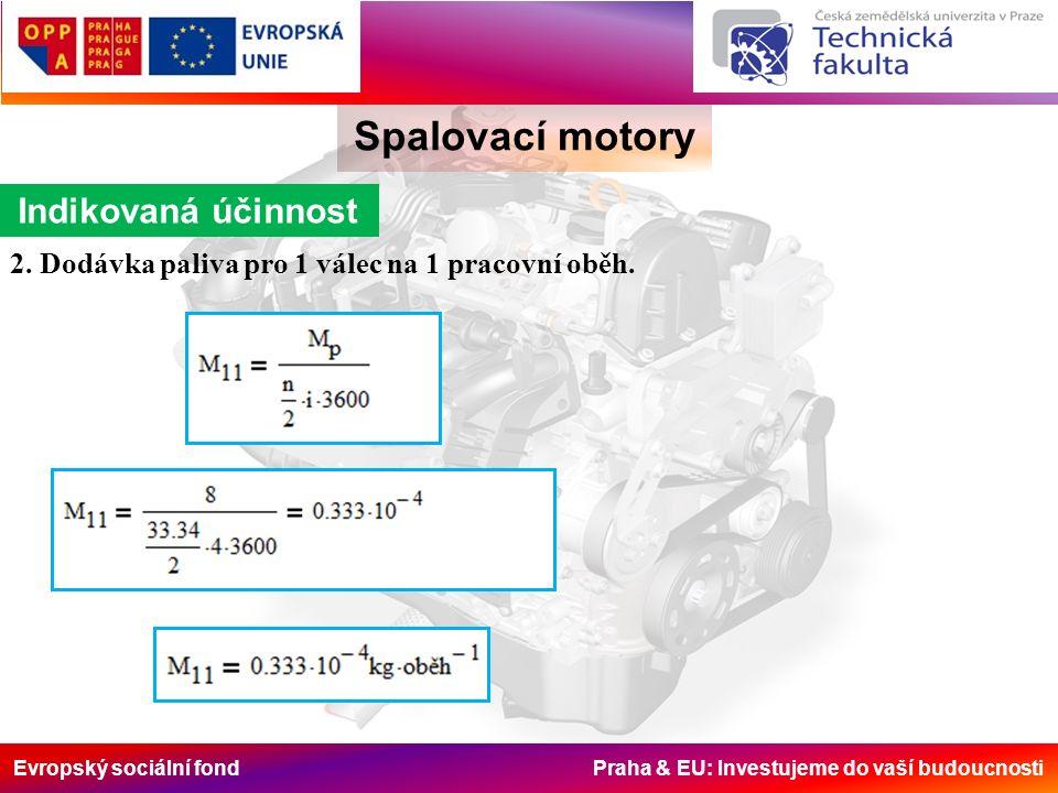 Evropský sociální fond Praha & EU: Investujeme do vaší budoucnosti Spalovací motory Indikovaná účinnost 2. Dodávka paliva pro 1 válec na 1 pracovní ob