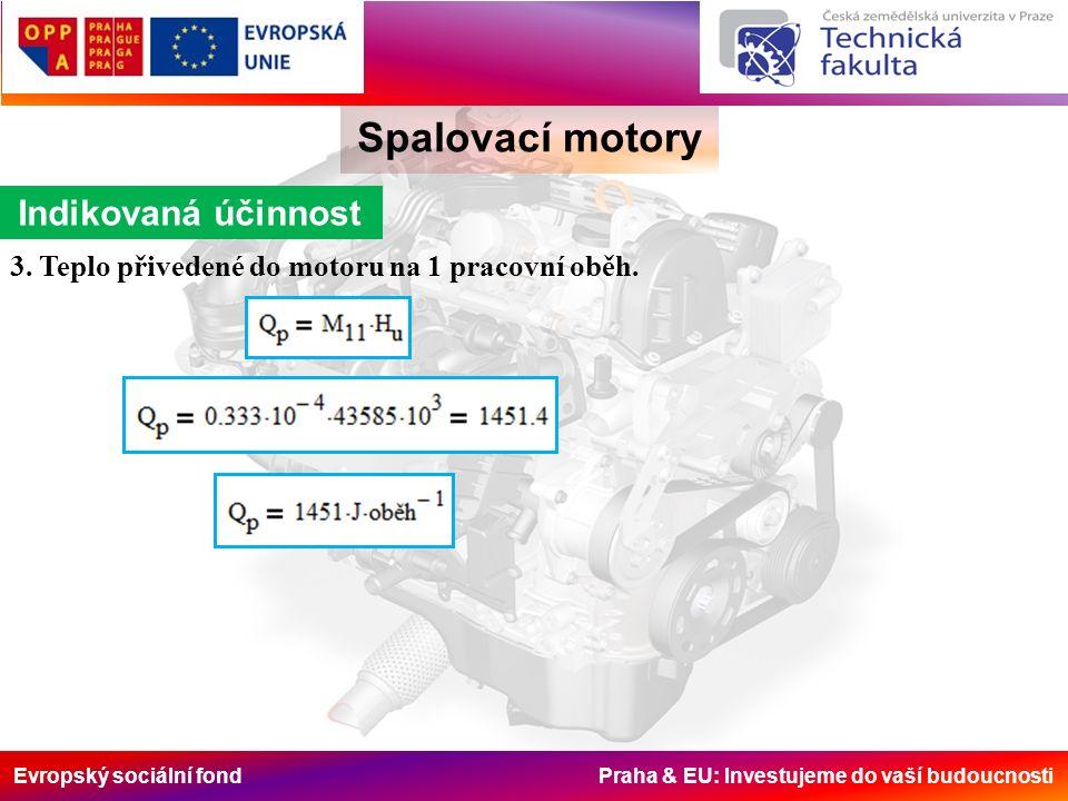 Evropský sociální fond Praha & EU: Investujeme do vaší budoucnosti Spalovací motory Indikovaná účinnost 3. Teplo přivedené do motoru na 1 pracovní obě