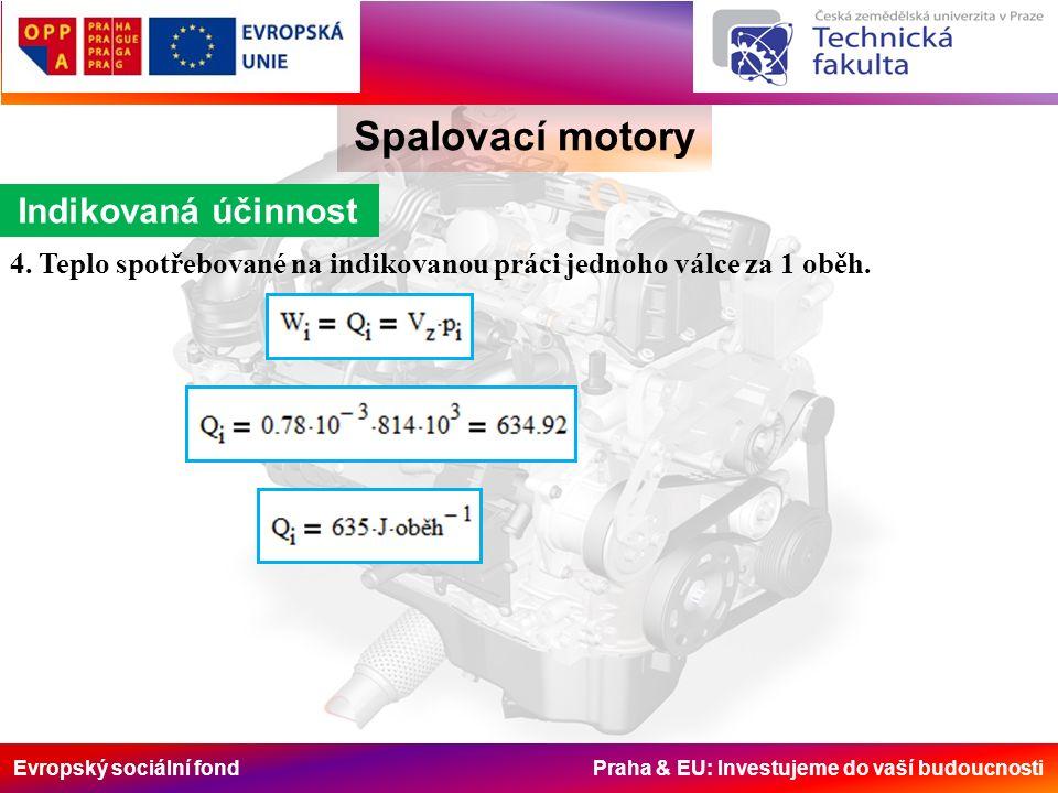 Evropský sociální fond Praha & EU: Investujeme do vaší budoucnosti Spalovací motory Indikovaná účinnost 4. Teplo spotřebované na indikovanou práci jed