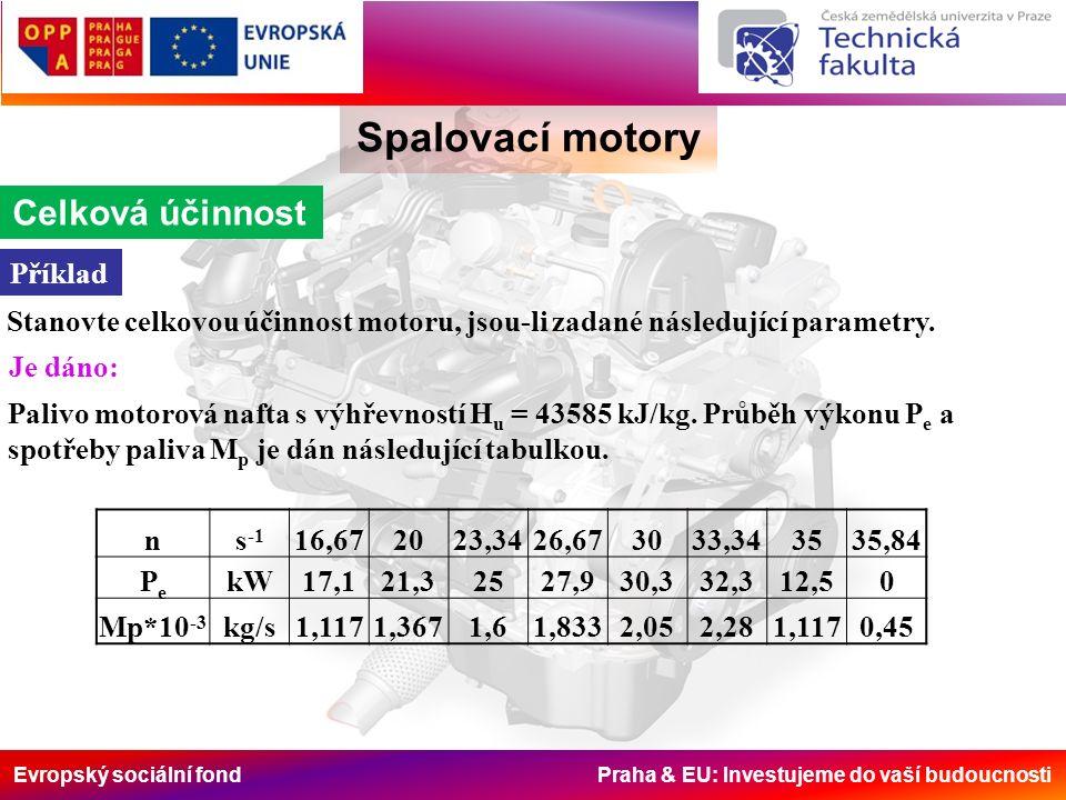 Evropský sociální fond Praha & EU: Investujeme do vaší budoucnosti Spalovací motory Celková účinnost Příklad Stanovte celkovou účinnost motoru, jsou-l