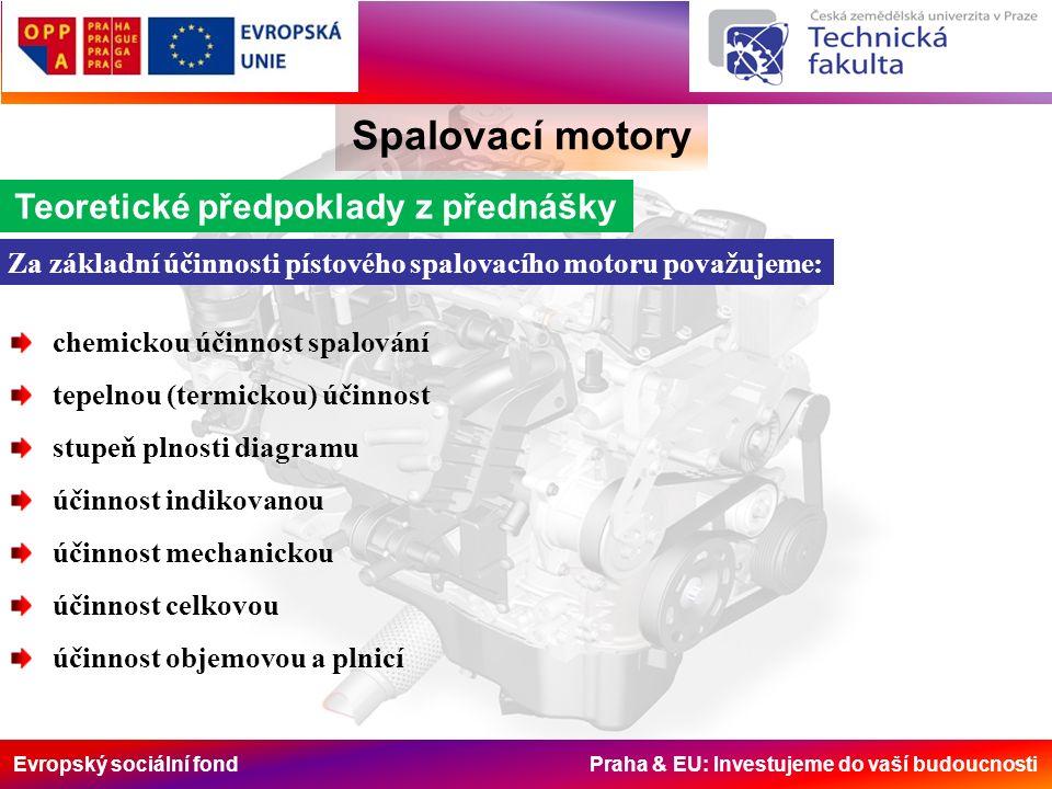 Evropský sociální fond Praha & EU: Investujeme do vaší budoucnosti Spalovací motory Za základní účinnosti pístového spalovacího motoru považujeme: Teo