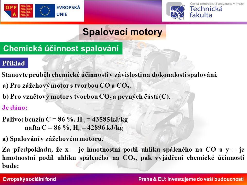 Evropský sociální fond Praha & EU: Investujeme do vaší budoucnosti Spalovací motory Chemická účinnost spalování Pro konkrétní příklad bude vztah následující.