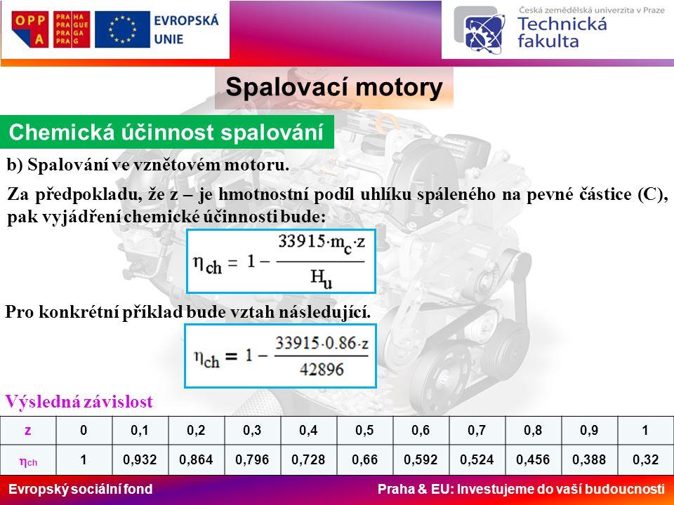 Evropský sociální fond Praha & EU: Investujeme do vaší budoucnosti Spalovací motory Chemická účinnost spalování Graficky jsou obě závislosti znázorněny na následujícím obr.