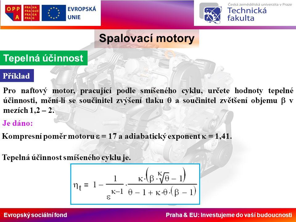 Evropský sociální fond Praha & EU: Investujeme do vaší budoucnosti Spalovací motory Pro naftový motor, pracující podle smíšeného cyklu, určete hodnoty