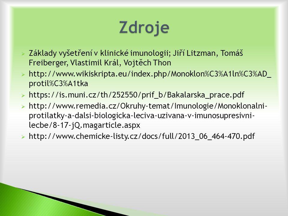  Základy vyšetření v klinické imunologii; Jiří Litzman, Tomáš Freiberger, Vlastimil Král, Vojtěch Thon  http://www.wikiskripta.eu/index.php/Monoklon%C3%A1ln%C3%AD_ protil%C3%A1tka  https://is.muni.cz/th/252550/prif_b/Bakalarska_prace.pdf  http://www.remedia.cz/Okruhy-temat/Imunologie/Monoklonalni- protilatky-a-dalsi-biologicka-leciva-uzivana-v-imunosupresivni- lecbe/8-17-jQ.magarticle.aspx  http://www.chemicke-listy.cz/docs/full/2013_06_464-470.pdf