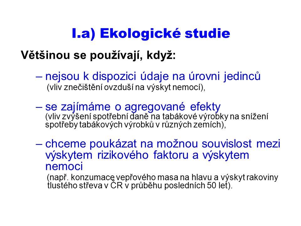 I.a) Ekologické studie Většinou se používají, když: –nejsou k dispozici údaje na úrovni jedinců (vliv znečištění ovzduší na výskyt nemocí), –se zajímá