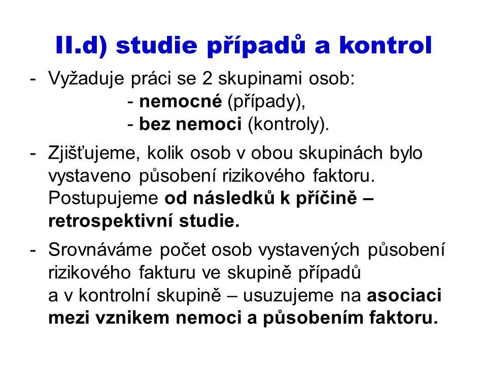 II.d) studie případů a kontrol -Vyžaduje práci se 2 skupinami osob: - nemocné (případy), - bez nemoci (kontroly). -Zjišťujeme, kolik osob v obou skupi