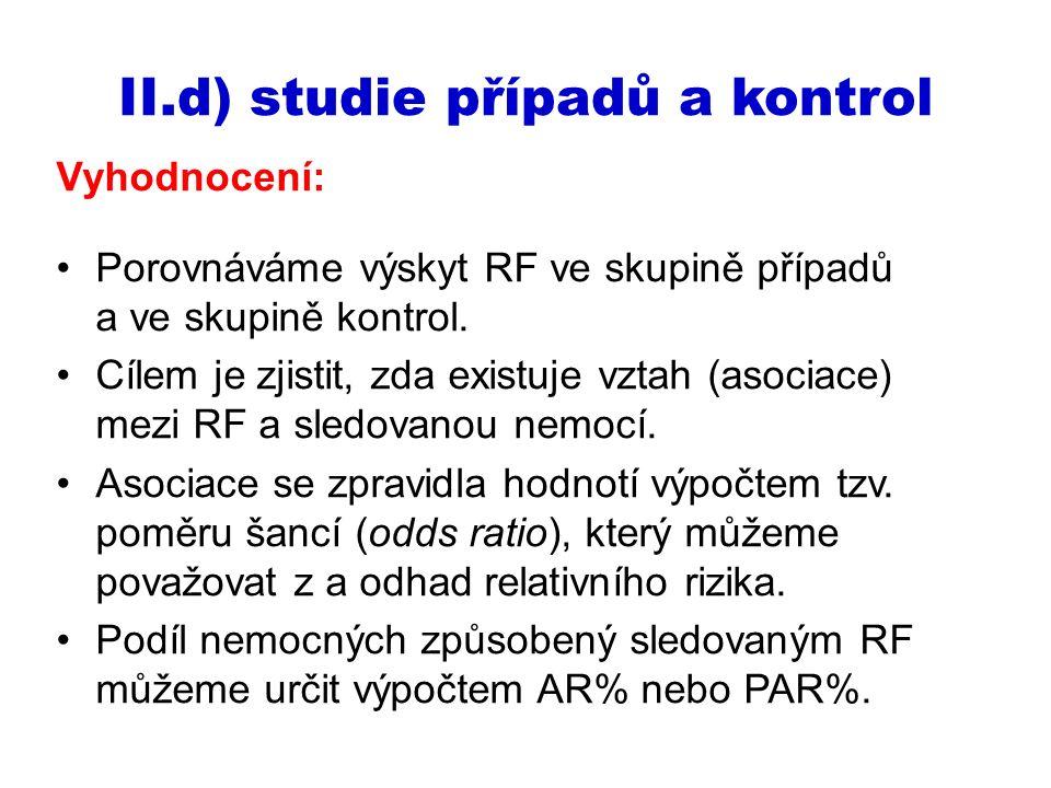 Vyhodnocení: Porovnáváme výskyt RF ve skupině případů a ve skupině kontrol. Cílem je zjistit, zda existuje vztah (asociace) mezi RF a sledovanou nemoc
