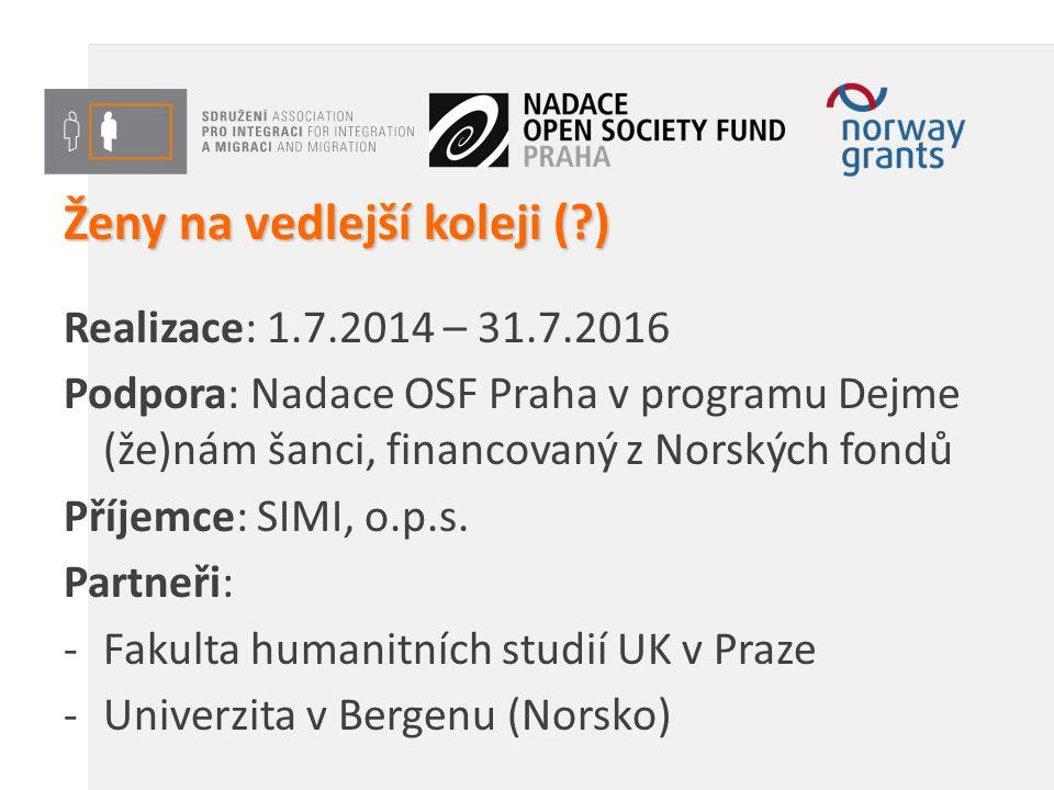 Ženy na vedlejší koleji ( ) Realizace: 1.7.2014 – 31.7.2016 Podpora: Nadace OSF Praha v programu Dejme (že)nám šanci, financovaný z Norských fondů Příjemce: SIMI, o.p.s.
