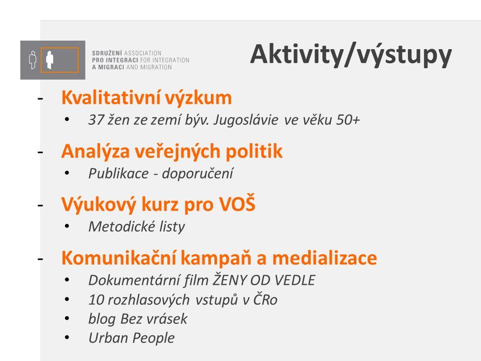 Aktivity/výstupy -Kvalitativní výzkum 37 žen ze zemí býv. Jugoslávie ve věku 50+ -Analýza veřejných politik Publikace - doporučení -Výukový kurz pro V
